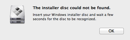 Bootcamp Assistant Installer Disc Could not be found